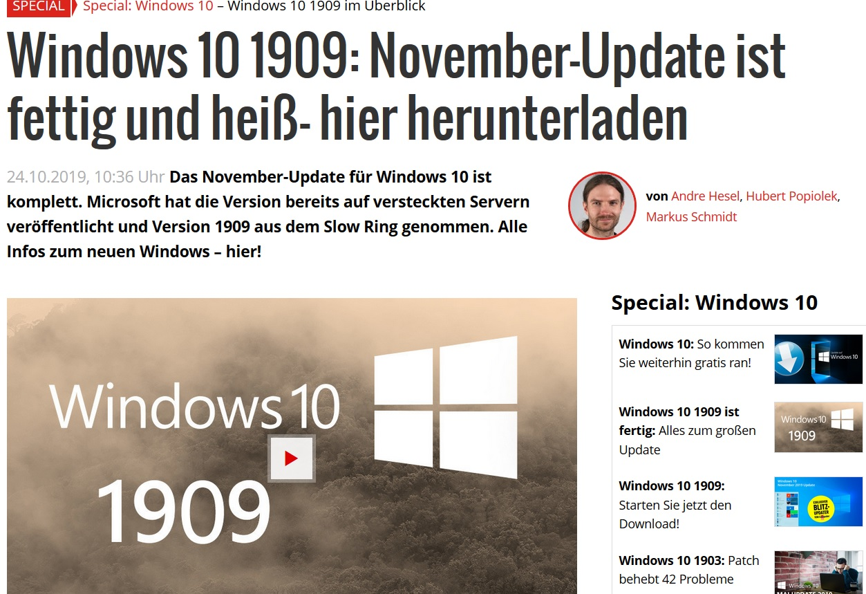 Upgrade auf Version 1909