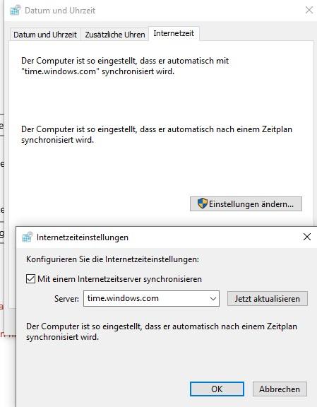 Windows 10 1809 Zeit wird falsch angezeigt