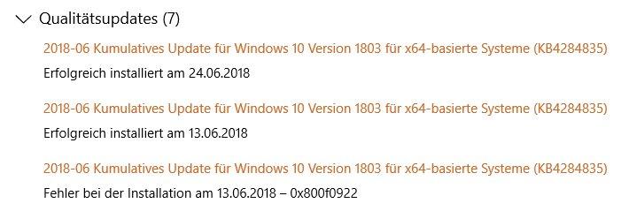 Updates (KB4284835) – Fehler 0x800703f1
