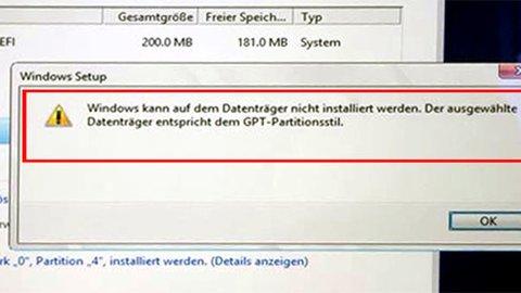 Mac Boot Camp Windows Installation schlägt fehl. Der ausgewählte Datenträger entspricht dem...