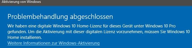 Windows 10 Aktivierung verschwunden