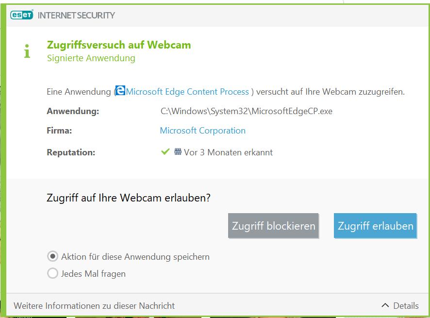 WebcamZugriff beim  Starten von Edge