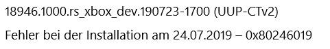 Fehler bei Windows10 Üpdate / Version 1903