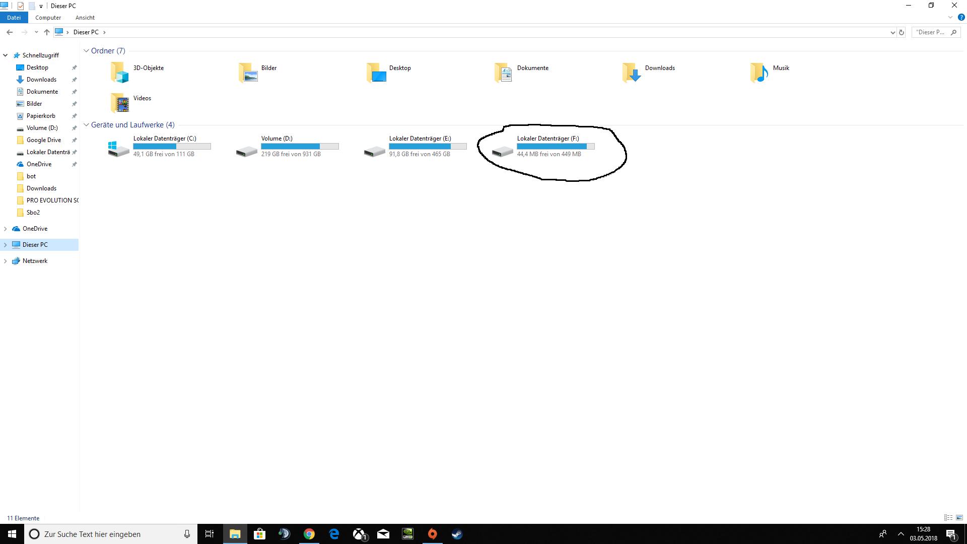 Windows Patition aufgetaucht nach update 1803
