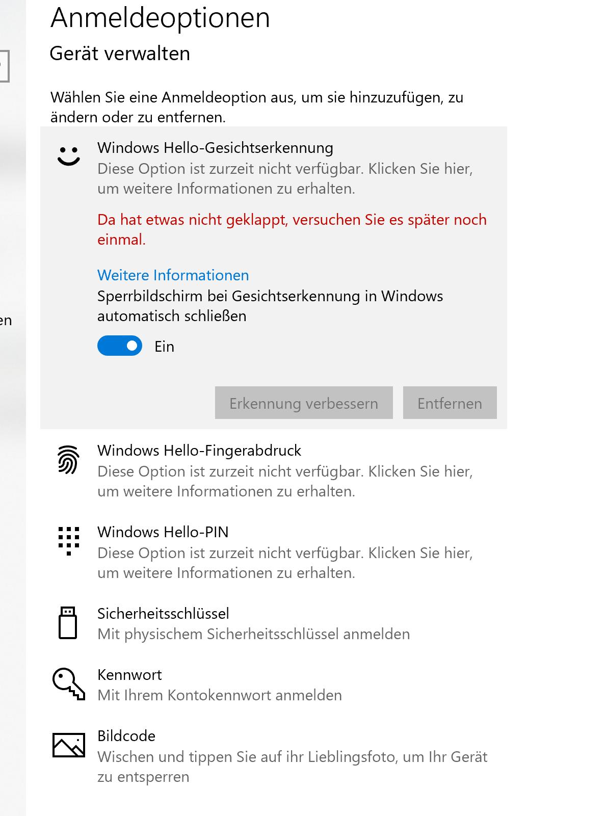 Windows Hello fehlermeldung