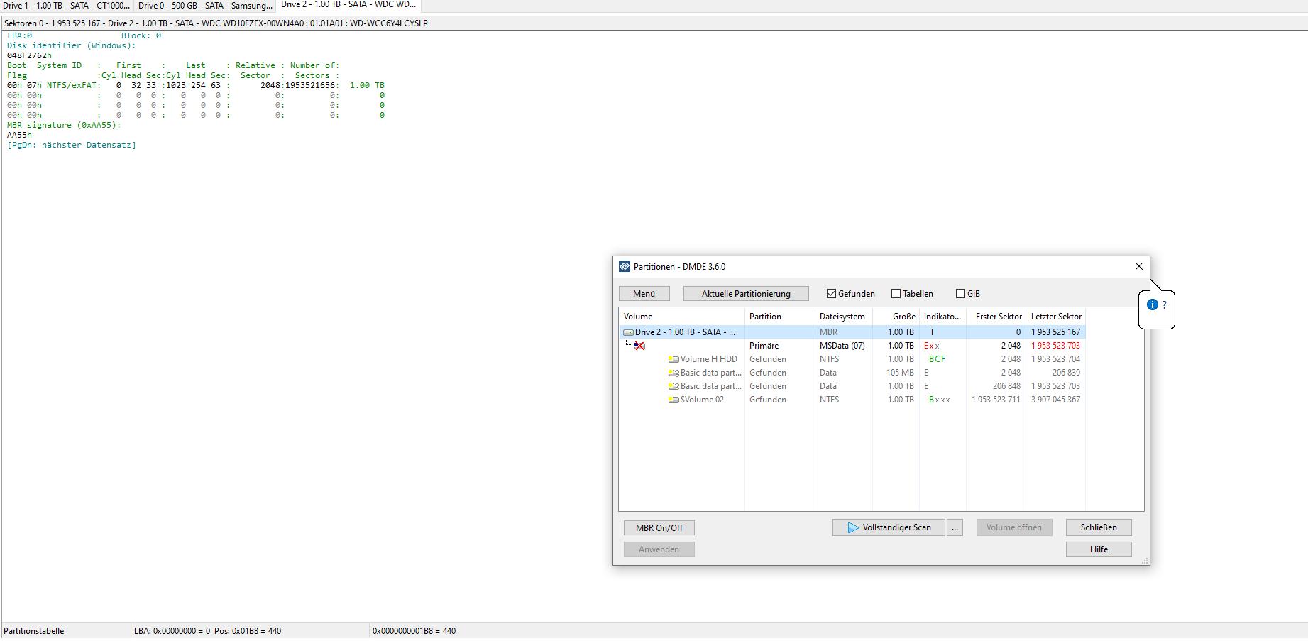 Eine HDD und eine SSD verschwinden spontan