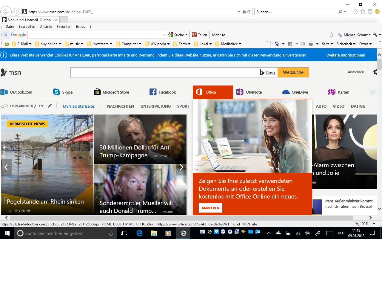 Darstellung meiner Startseite in Edge. MSN als Startseite
