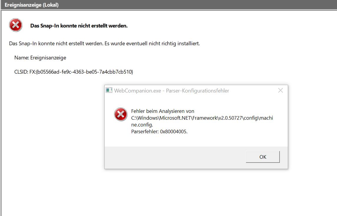 Windows 10 Klon (per Snap-In) hat Fehler