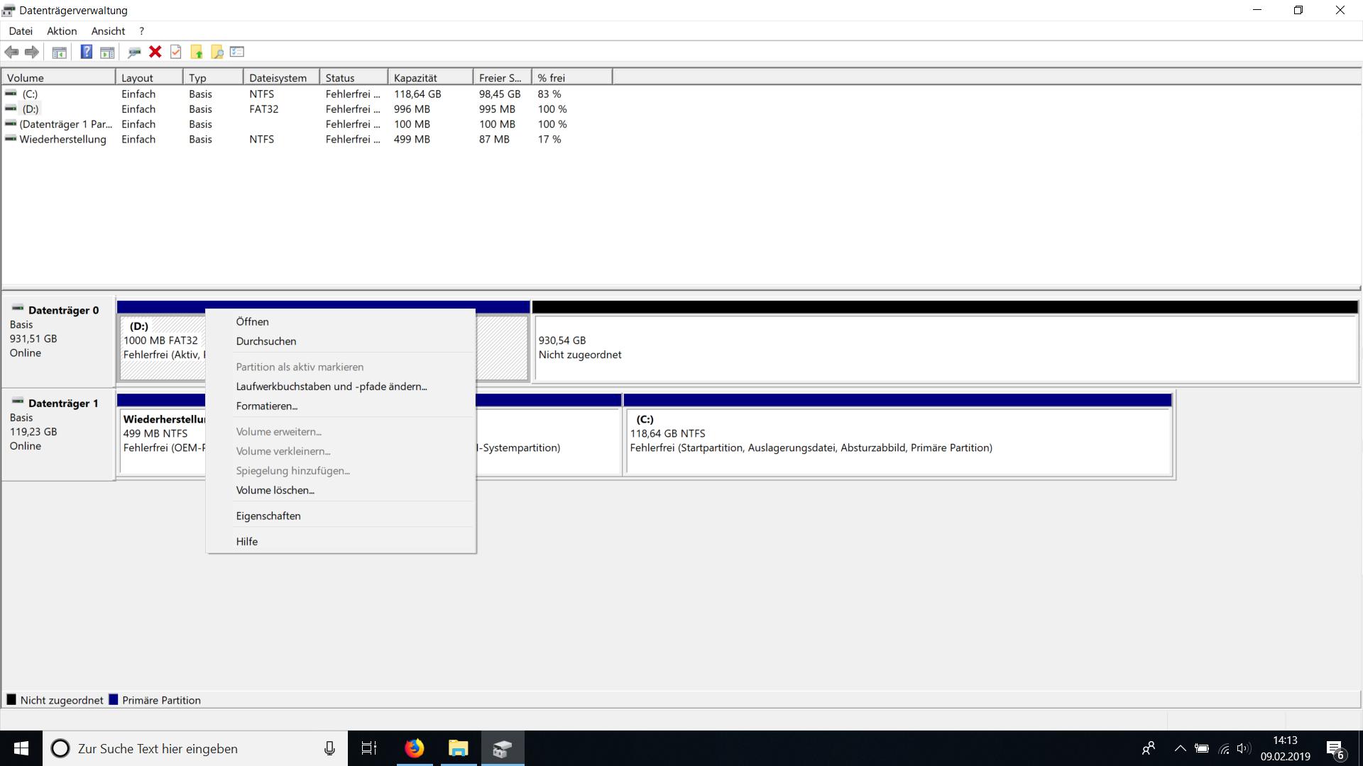 1TB C: Festplatte zeigt nur 1000MB an