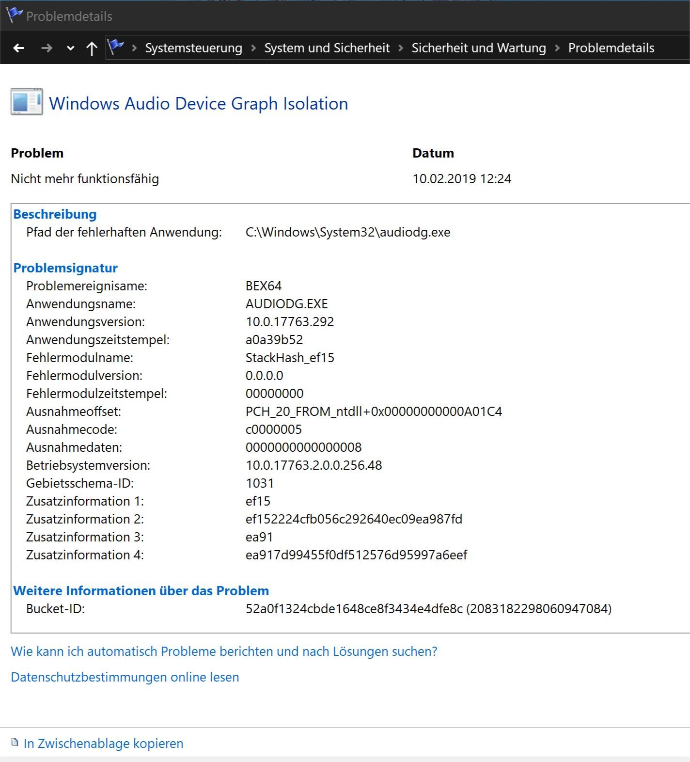 Fehler bei: AUDIODG.EXE  (Realtek Audio)