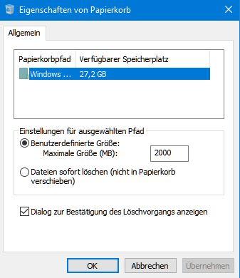 Anstatt in den Papierkorb, werden die Dateien unwiderruflich gelöscht...