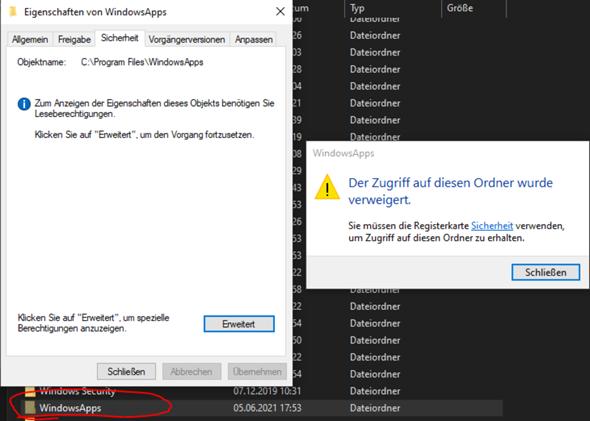 Windows zugriff verweigert (WindowsApps-Ordner)?