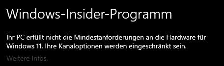 windows 11 pc erfüllt nicht die anforderungen?