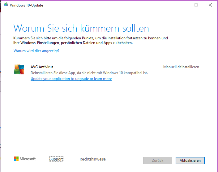 AVG verhindert Windows 10 Update