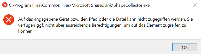 Fehlermeldung - Erkennung vom Surface Pen verbessern