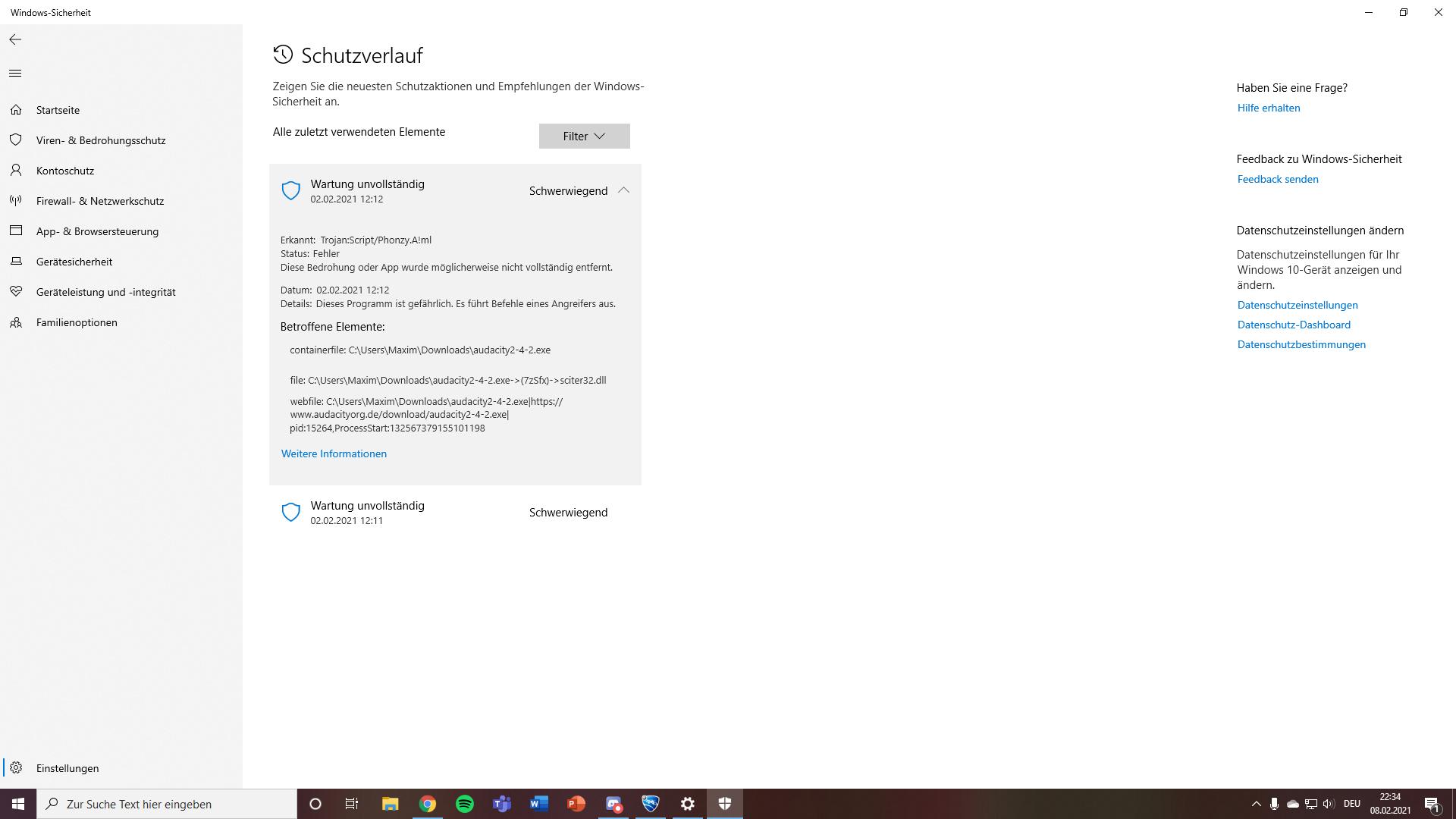 Windows Wartung unvollständig