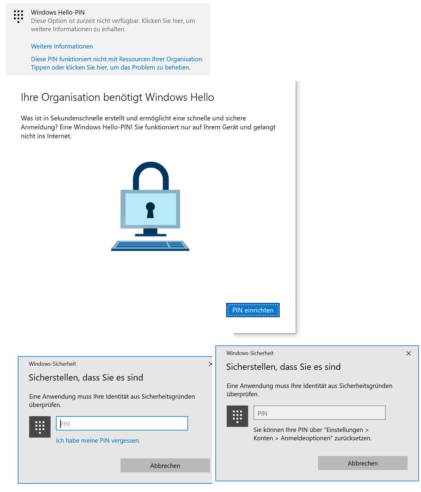 Windows Hello PIN lässt sich nicht ändern/löschen