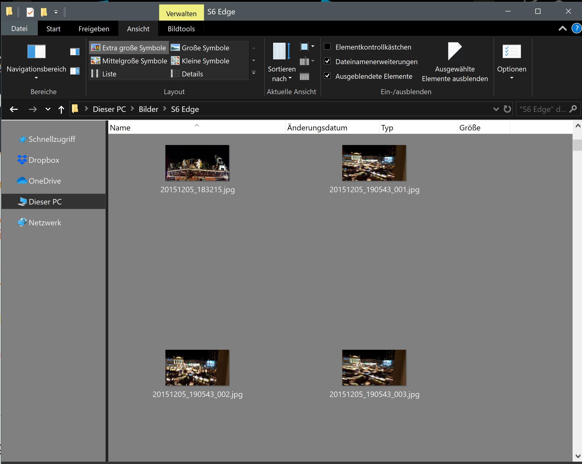 Symbolbild/ Bilder Voransicht in der Exploreransicht - extra große Symbole- zu klein - bei 4k