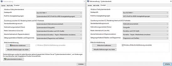 Beim öffnen von Outlook oder Adobe Reader lädt sich Farbprofil über die Bildschirme