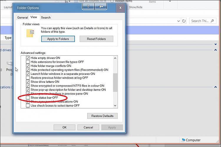 Datei-Explorer - So entfernen Sie Ansichtssymbole in der rechten unteren Ecke