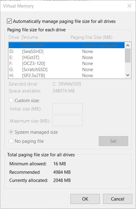 Ram-Upgrade verursacht große Pagefile