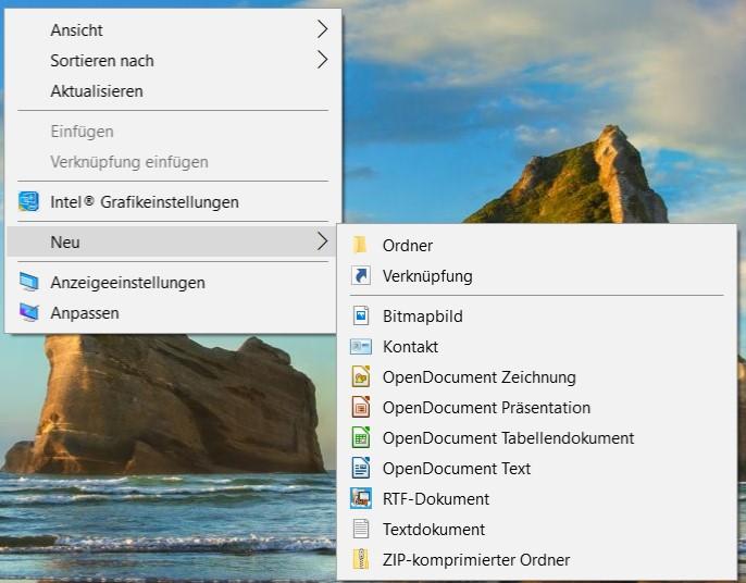 Windows 10 Erstellung eines neuer Ordners oder einer neuen Datei im Explorer oder auch auf...