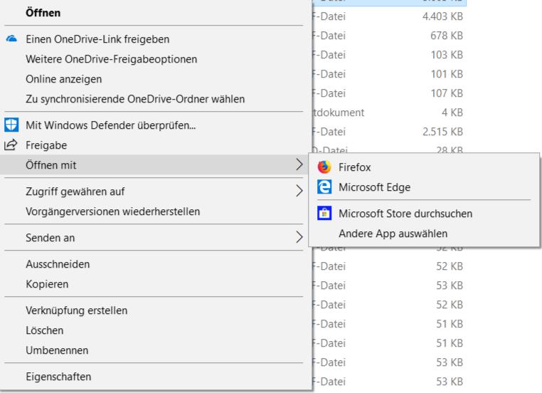 Standard App für pdf lässt sich nicht ändern