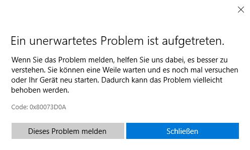 Apps aus dem Microsoft Store lassen sich nicht installieren