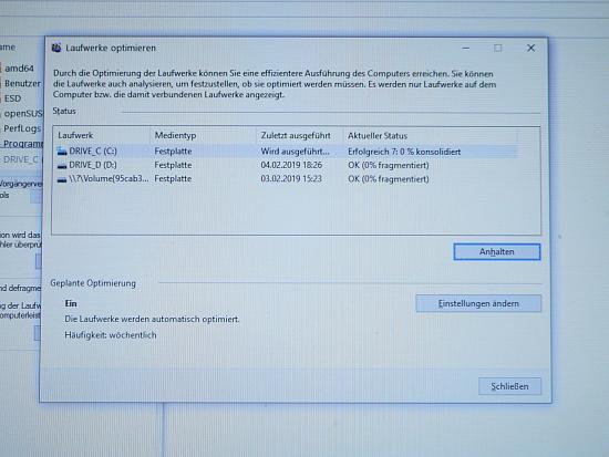 Defragmentierung der Festplatte hängt
