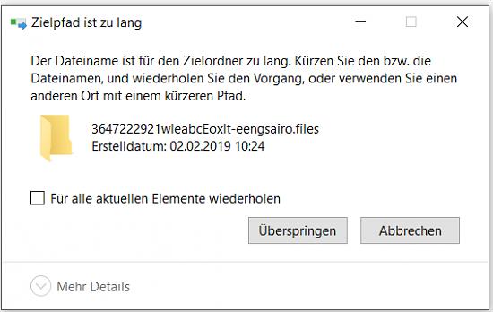 Dateiname für Zielordner zu lang ?