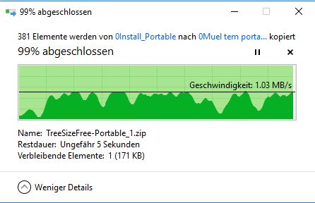Kopieren: Geschwindigkeit fällt bis auf 0kb/s ab und geht dann wieder rauf über 1 mb/s. Wo...