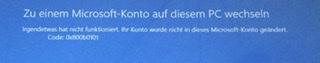 Zugriff auf  Microsoft-Konto mit meinem Surface nicht mehr möglich