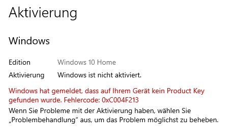 Aktivierung Windows 10 nach Hardwarwechsel - Fehler 0x004f213