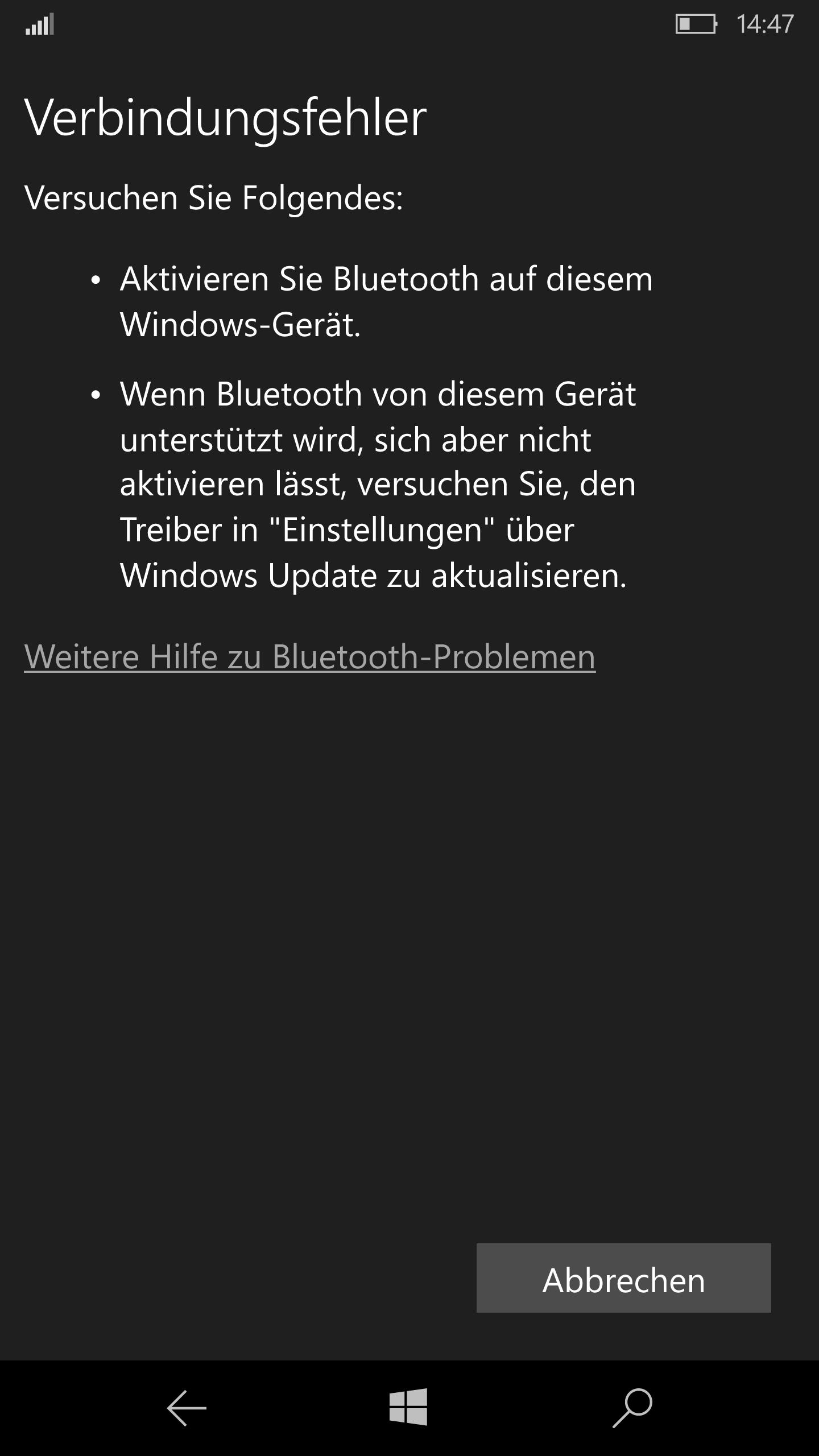 Lumia 950 XL erkennt Bluetoothgeräte nicht - Das Signal wird gar nicht erst erkannt