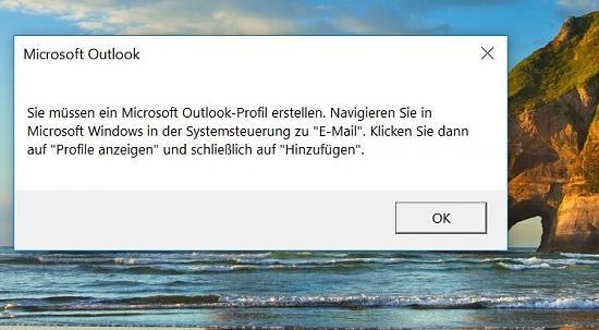 Sie müssen ein Microsoft Outlook-Profil erstellen - trotz Thunderbird