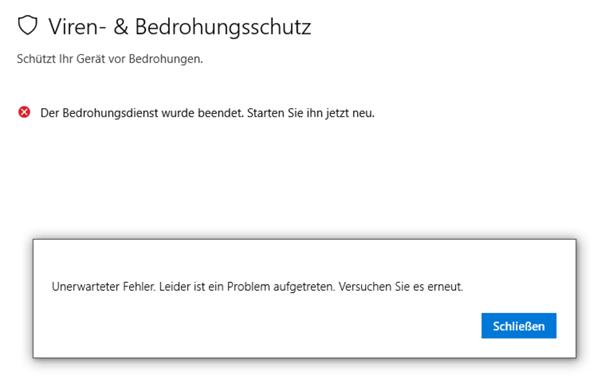 Windows Defender wurde beendet und lässt sich nicht neustarten ?