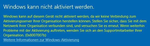 Aktivierung Windows 10 Enterprise nicht möglich