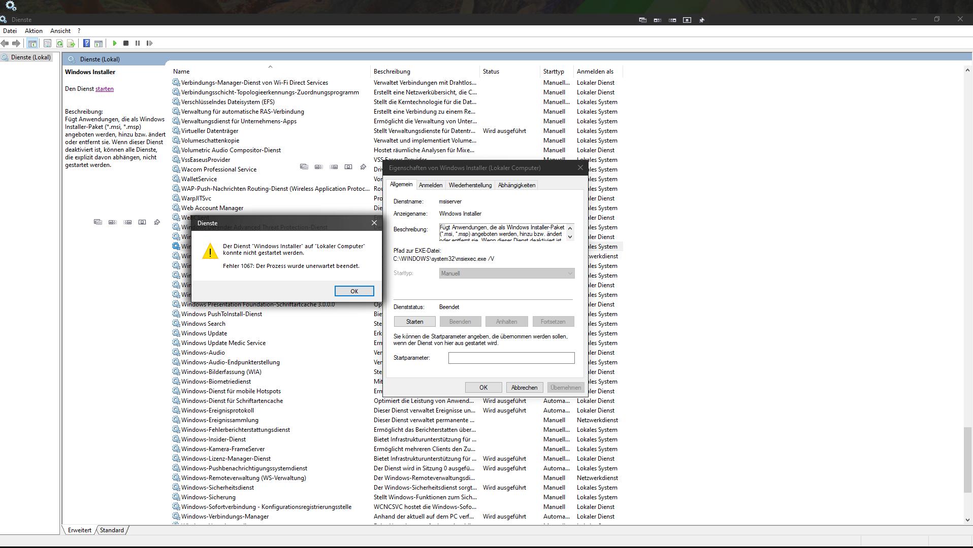 Windows Installer auch nach Inplace-Upgrade 20H2 nicht funktional