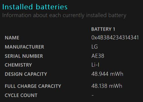 Battery Report Auswertung