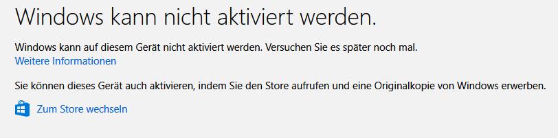 Windows lässt sich nach Hardwareänderungen nicht mehr aktivieren. 0xc004f211 obwohl...