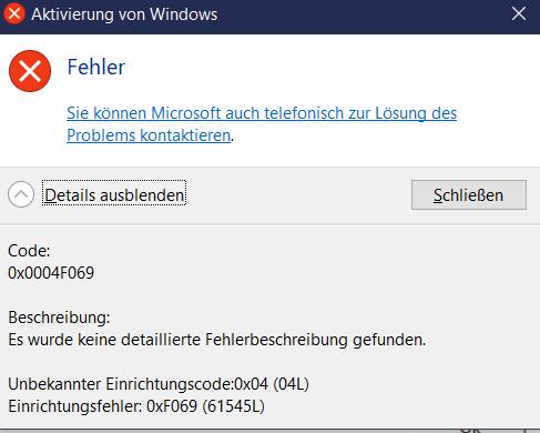 Windows 10 Upgrade von Home auf Pro funktioniert nicht