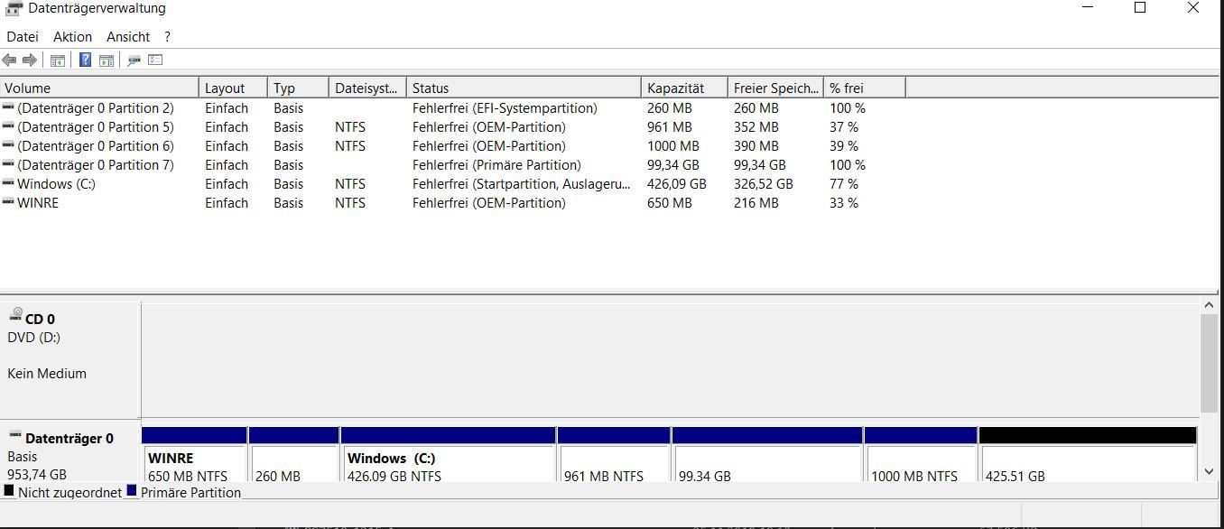 OEM Partitionen, Windows 10 Version 1803