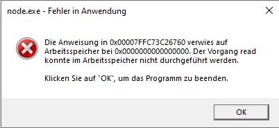 Problem mit node.exe (Fehler in Anwendung)