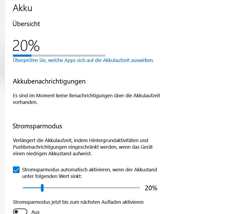 Seit einem Update (?) keine Anzeige der Akku Restlaufzeit mehr - nur Prozentangabe