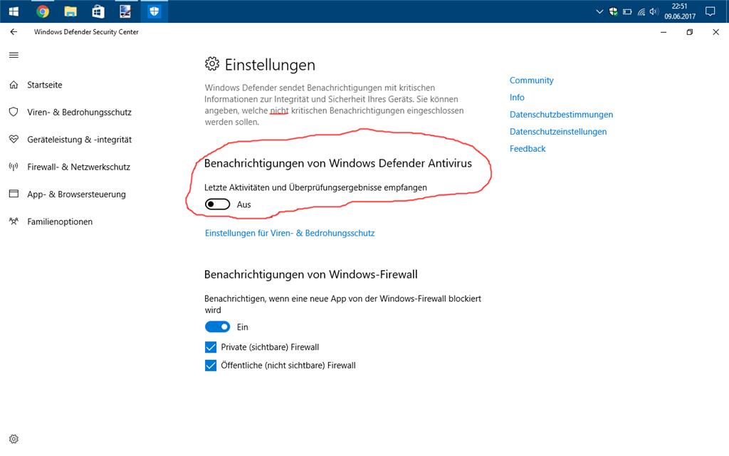 """""""unwichtige"""" Meldungen des Windows Defender Security Centers abschalten"""