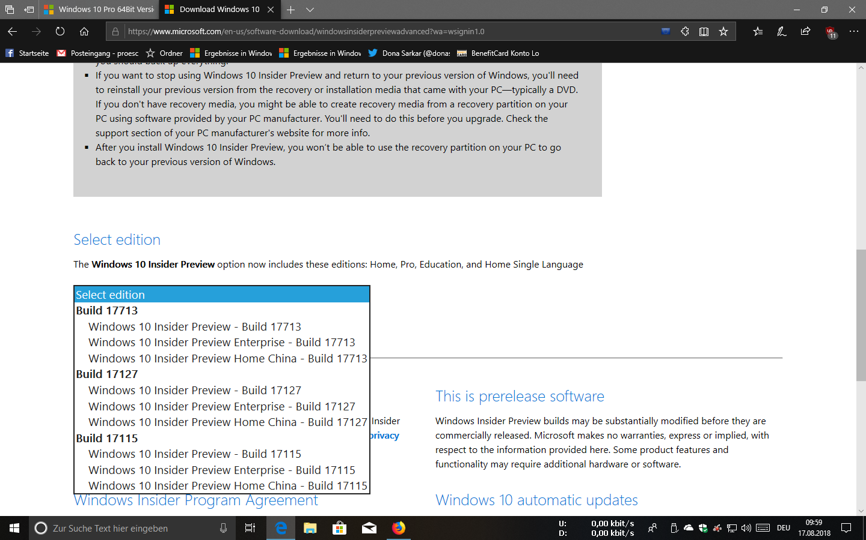 Windows 10 Pro 64Bit Version Insider Preview 180623