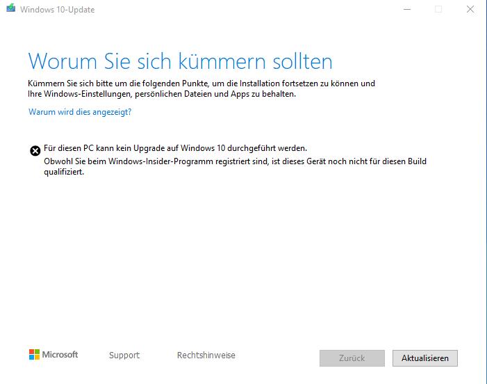 Windows Insider Preview kann nicht installiert werden