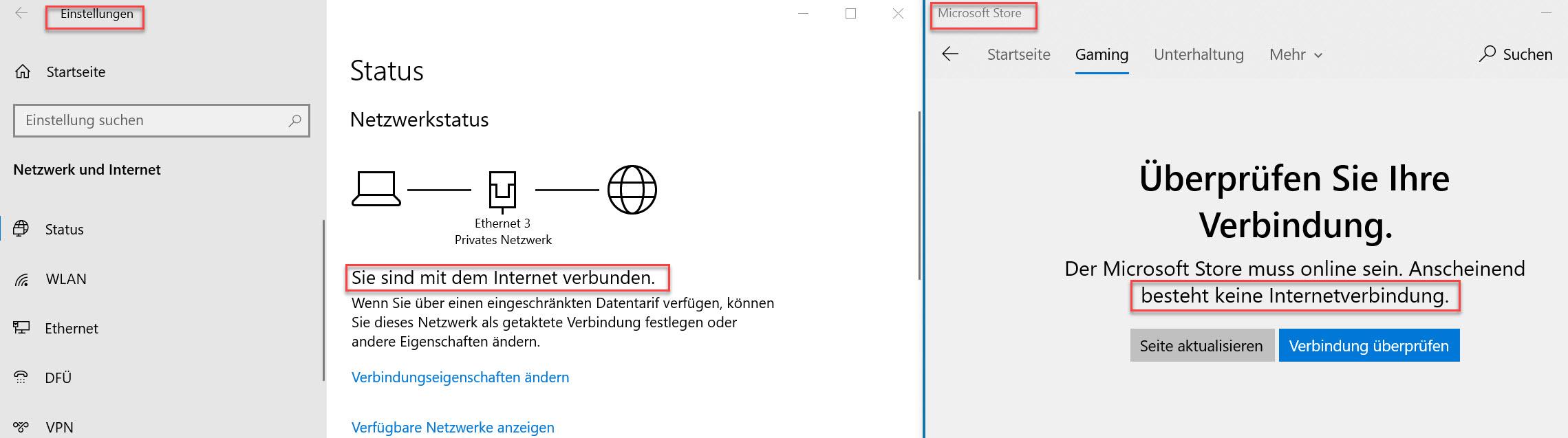 Microsoft Store und Feedback-Hub gehen nicht unter Windows 10.