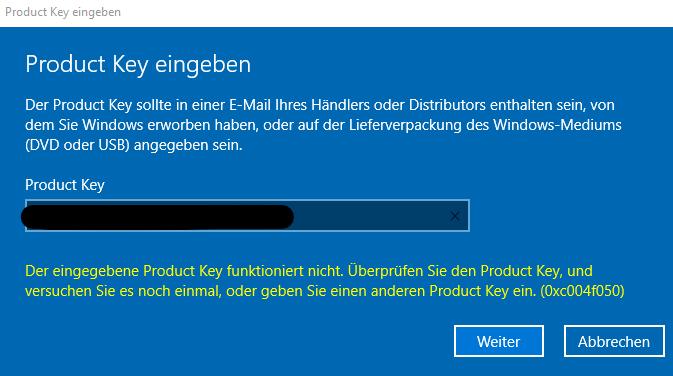 Windows 10 Pro Aktivierung funktioniert nicht