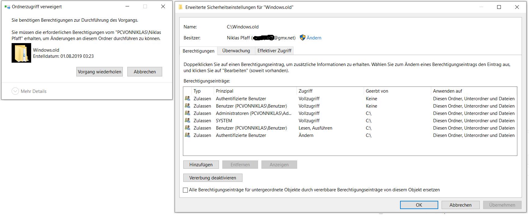 Warum gibt es 2-mal den gleichen Benutzer und wie kann ich Windows.old löschen? (hängt...